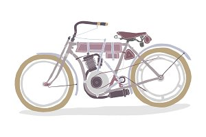 Hand-Drawn Vintage Motorcycle
