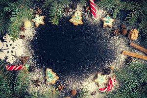 Christmas fir tree on chalkboard background