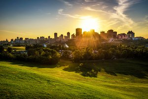Sunset above Edmonton downtown, Canada