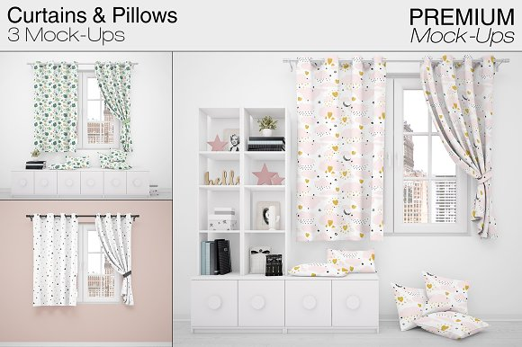 Curtains & Pillows Set-Graphicriver中文最全的素材分享平台
