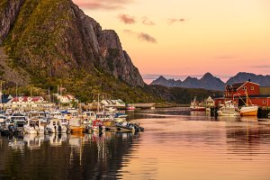 Many yachts anchored at the Marina of Svolvaer on Lofoten islands in Norway