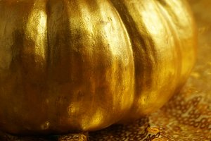 Gold Pumpkin with Gold Bokeh