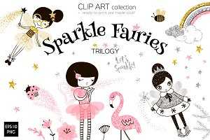 Sparkle Fairies clip art set
