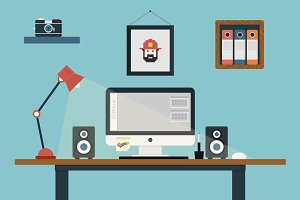 Flat Design Office Desk