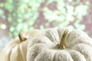 White Glitter Pumpkin with Bokeh