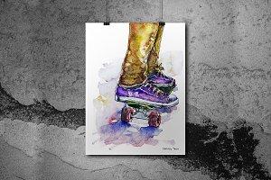 Skateboard Watercolor Poster