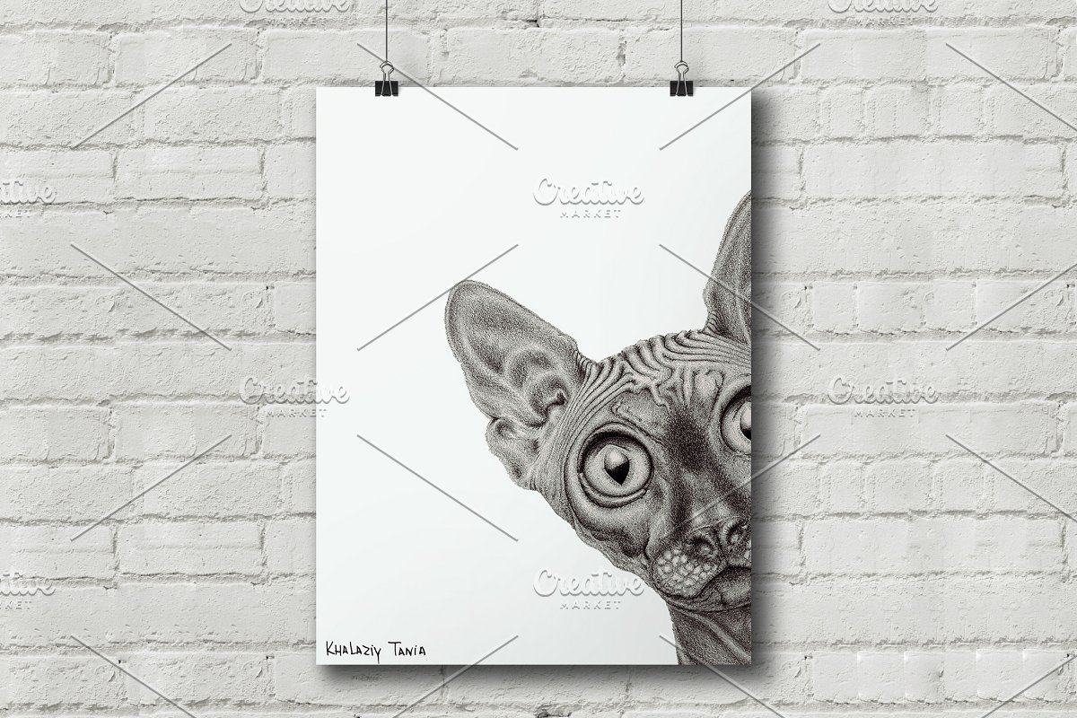 Sphynx pencil drawing poster