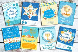 Happy Hanukkah set of greeting cards, flyer, poster. Hanukkah collection of templates for your invitation design. With menorah, sufganiyot, bunting, dreidel. Jewish holiday. Vector illustration.