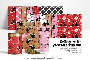 Skunk Valentines Tileable Pattern