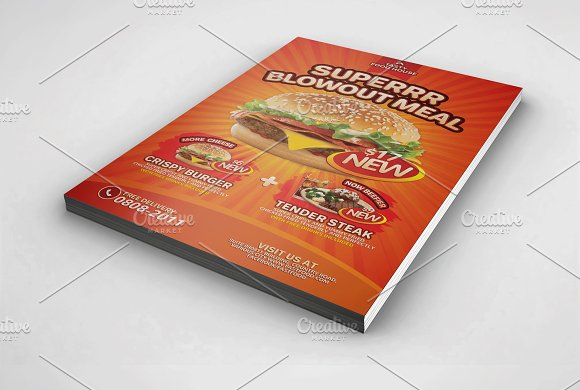 fast food product introduction flyer templates creative market