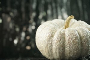 Glitter White Pumpkin with Bokeh
