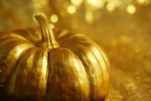 Gold Pumpkin with Bokeh