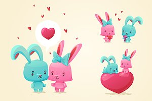 Set of cute happy rabbits (vector)