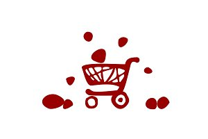 supermarket trolley, icon, vector illustration