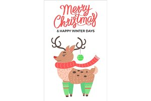 Merry Christmas and Reindeer Vector Illustration