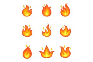 Burning Fire Set of Icons Vector Illustration
