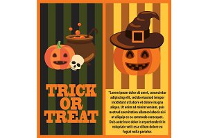 Trick or Treat Poster and Text Vector Illustration