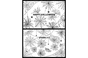 Happy Halloween Spider Web Vector Illustration