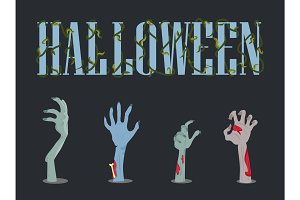 Halloween Placard and Hands Vector Illustration