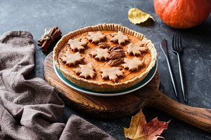 Pumpkin pie for Thanksgiving dinner menu