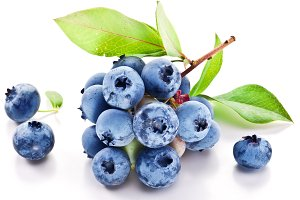 Blueberries with leaves on a white