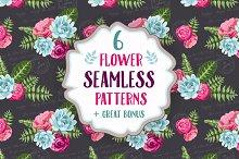 Set of 6 seamless flower patterns