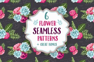 Set of 6 seamless flower patterns