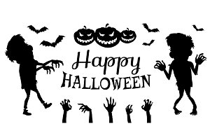 Happy Halloween Poster Black Vector Illustration