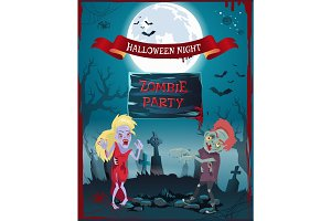 Halloween Night Zombie Party Vector Illustration