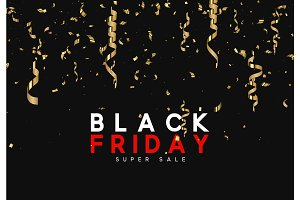 Black Friday super sale. Design of golden confetti and serpentine on black background.