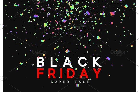 Black Friday super sale. Design of golden confetti and serpentine
