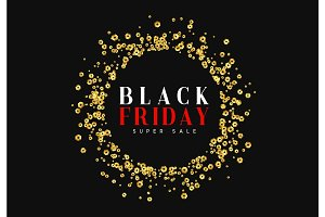 Black Friday super sale. Design of golden sequins