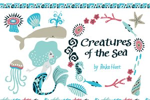 Creatures of the Sea Set - Vector