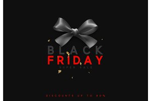 Black Friday sale, banner, poster advert. Card offert promotion design. Background black ribbon bow