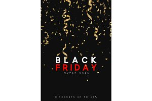 Black Friday super sale. Design of golden confetti and serpentine