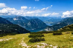 Scenic view of alps mountains and Hallstatt lake a sunny day