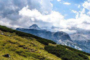 Scenic view of alps mountains a sunny day