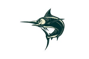 Blue Marlin Jump Scratchboard