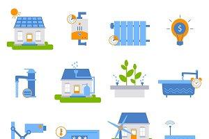Smart House Decorative Flat Icons