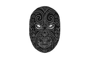 Maori Mask Scratchboard