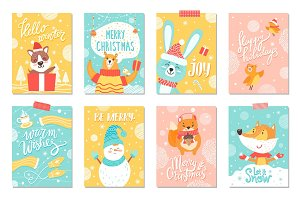 Merry Christmas Set of Winter Holidays Posters