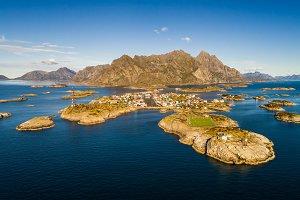Henningsvaer fishing village on Lofoten islands from above