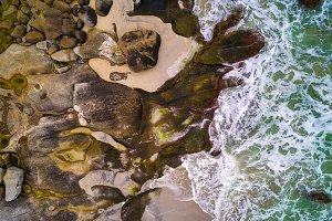 Sea waves hitting rocks of a beach on Lofoten islands in Norway