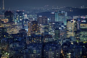 Seoul skyscrapers in the night, South Korea.