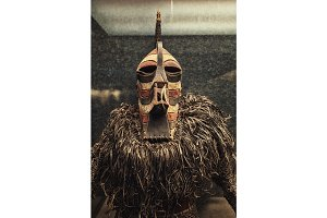 Genuine african mask closeup photo