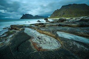 Uttakleiv beach on Lofoten islands in Norway