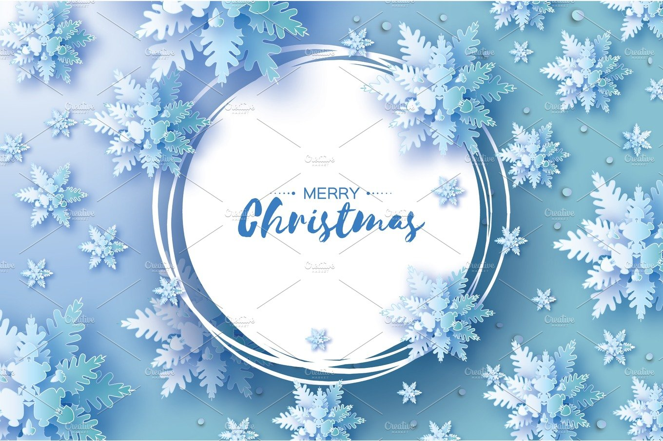 Blue Merry Christmas Greetings Card White Paper Cut Snow Flake