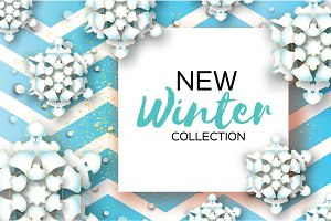 Origami Snowfall. Merry Christmas Greetings card. White Paper cut snow flake. Happy New Year. Winter snowflakes. Square frame. Text. Holidays. Blue zigzag background. Vector