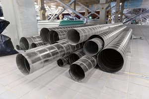 Clean new steel pipes closeup photo