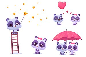 Set of couple cute panda (vector)